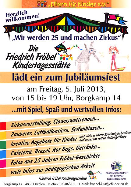 25 jahre friedrich-fröbel-kindertagesstätte | eltern für kinder, Einladung
